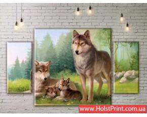 Модульные картины, Волки, ART. ANIM777025