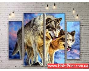 Модульные картины, волки, ART. ANIM777003