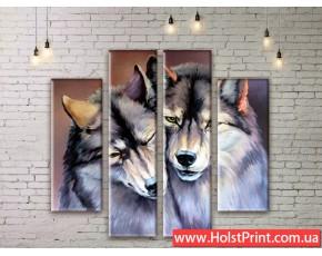 Модульные картины Волки, ART. ANIM777021